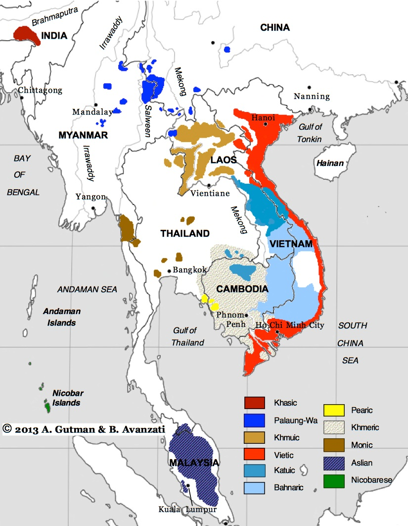 Austroasiatic - World map in vietnamese language