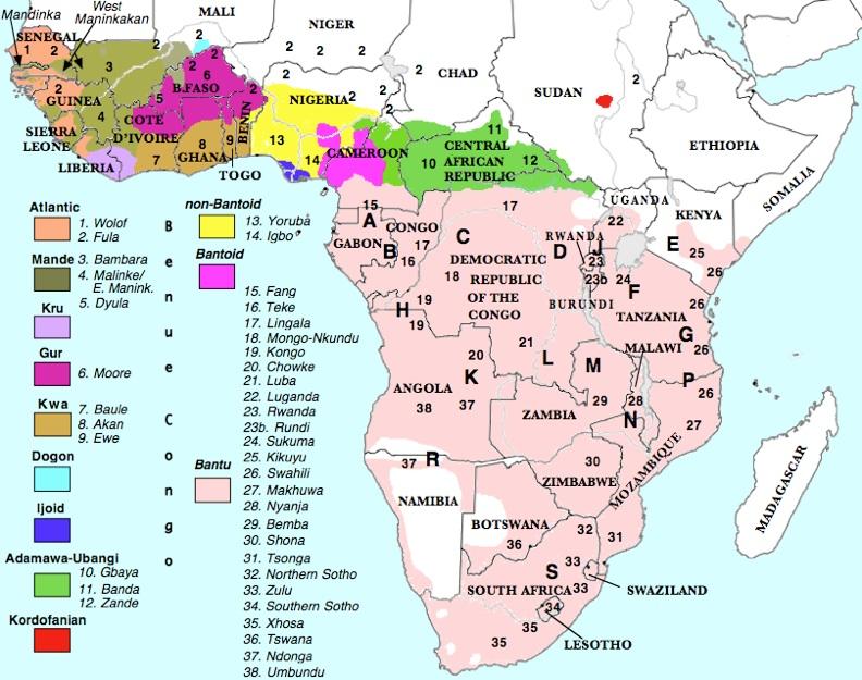 Benue - Cameroon language map