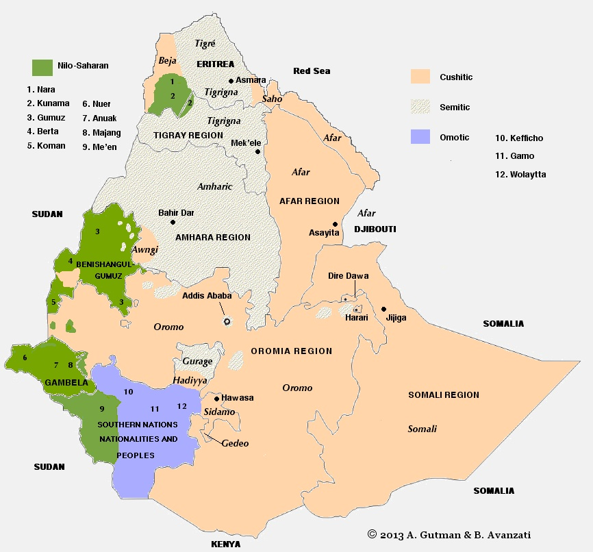 Ethiopic - Languages spoken by country