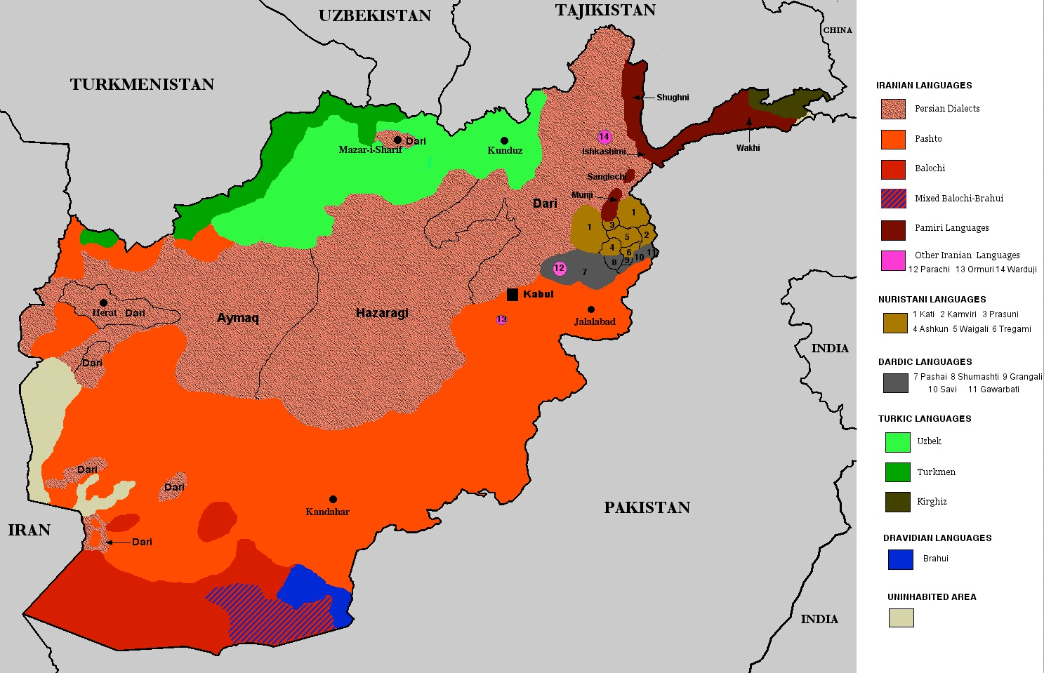 LINGUISTIC MAP OF AFGHANISTAN on aboriginal australian languages map, ethnic group map, world language families map, european language map,