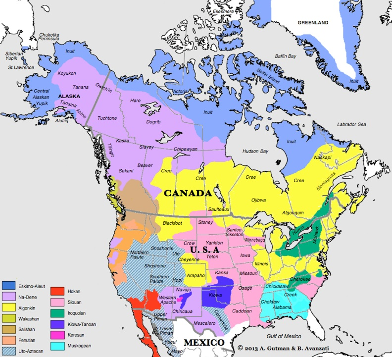 Native American Map Before Colonization.Northamer