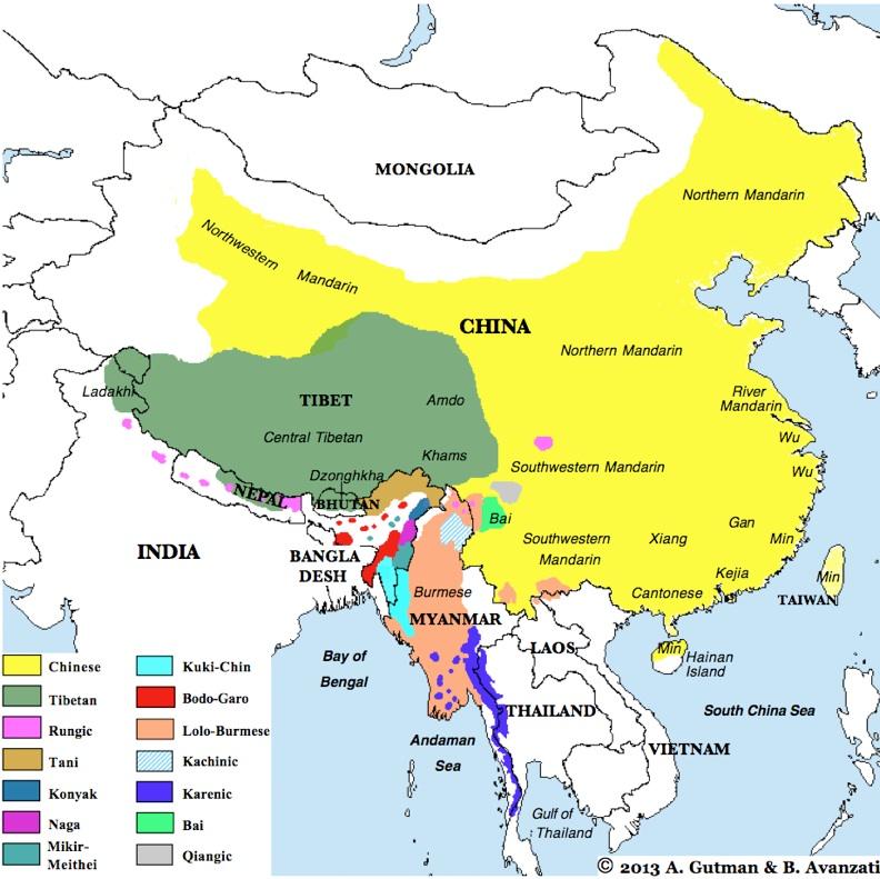 Sinotibetan Language Family Incl Chinese Varieties Tibetan - China language map